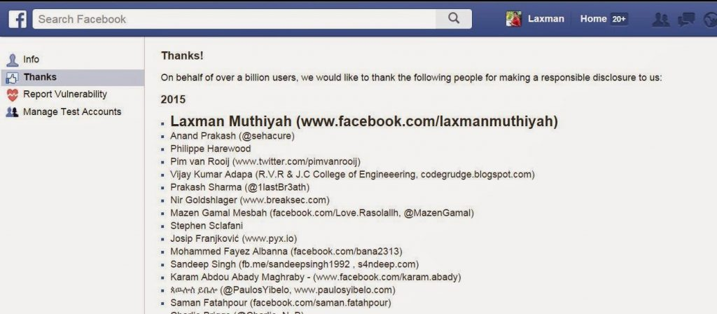 Laxman Muthiyah Facebook Whitehat Hacker Updated List 2015