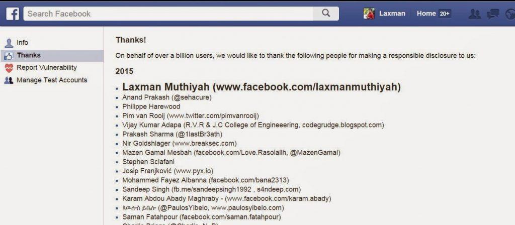 Laxman Muthiyah Facebook Whitehat Hacker Updated List 2015