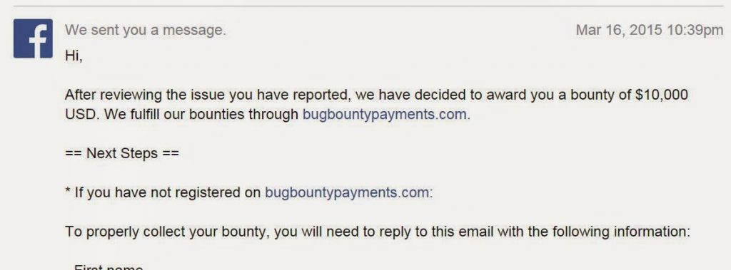 $10,000 USD bounty from Facebook For Private Photos Bug