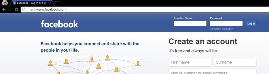 Facebook Phishing Scam page with email password