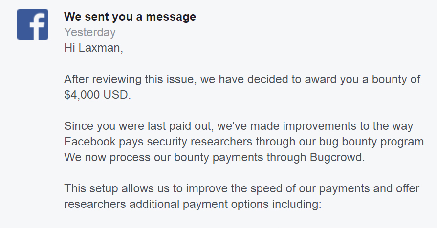 Facebook Acknowledgement of Fix and Bounty of $4000 USD