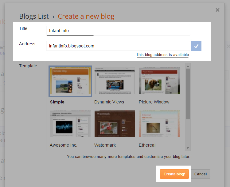 Set Title and URL Adress blogspot Step 2