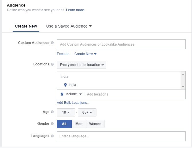 Facebook Post Engagement Ads Audience Options