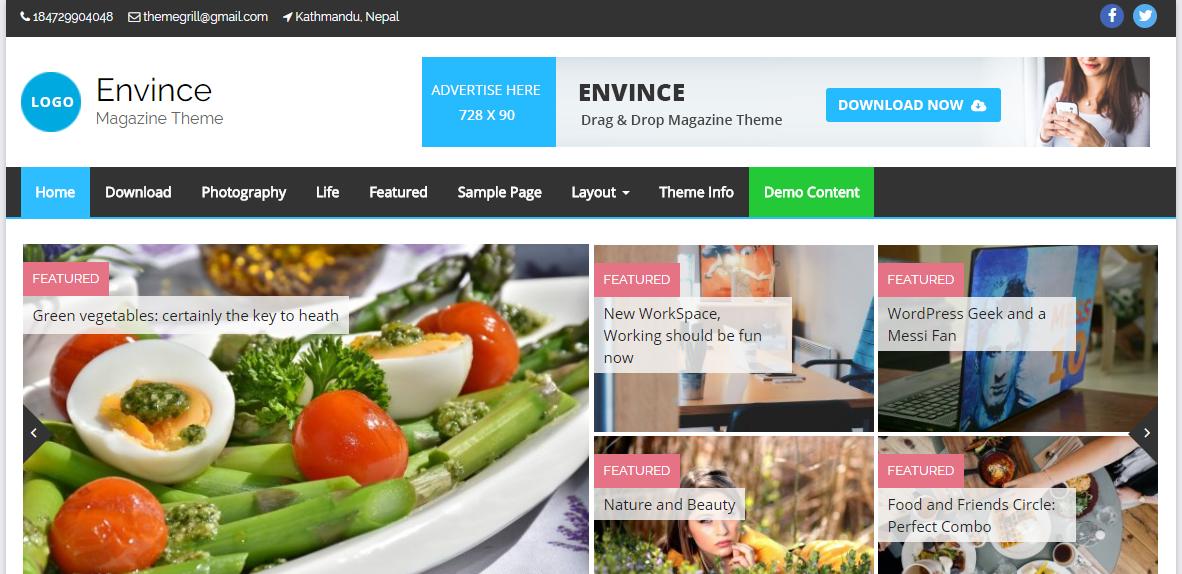 Envince WordPress Free Theme