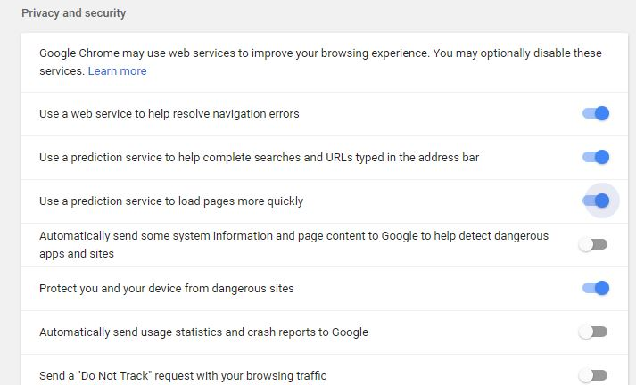 Chrome Prediction Service Privacy Settings