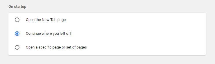 Chrome Startup Settings